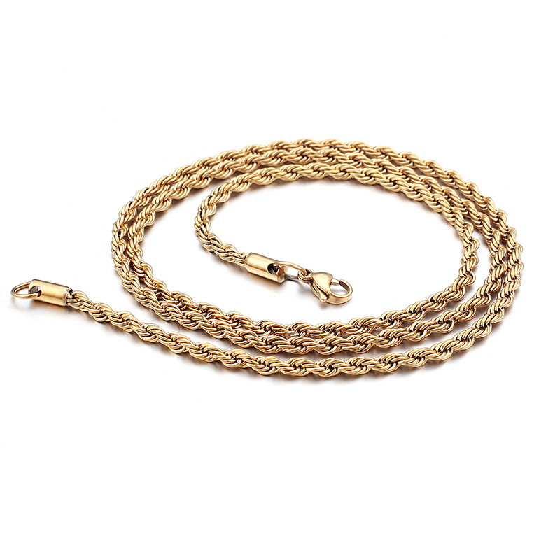 3-5mm Stainless Steel Chain Necklace Twist Rope for Men Women Jewelry manufacture, Ip black,gold,color platting