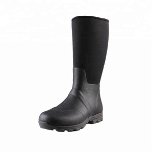 custom logo used composite toe seamless neoprene waterproof fishing rain boots wholesale rubber safety boots