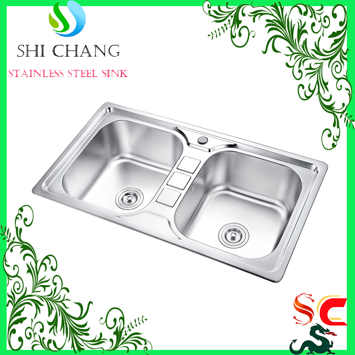 N 304 stainless steel kitchen sink double bolw basin