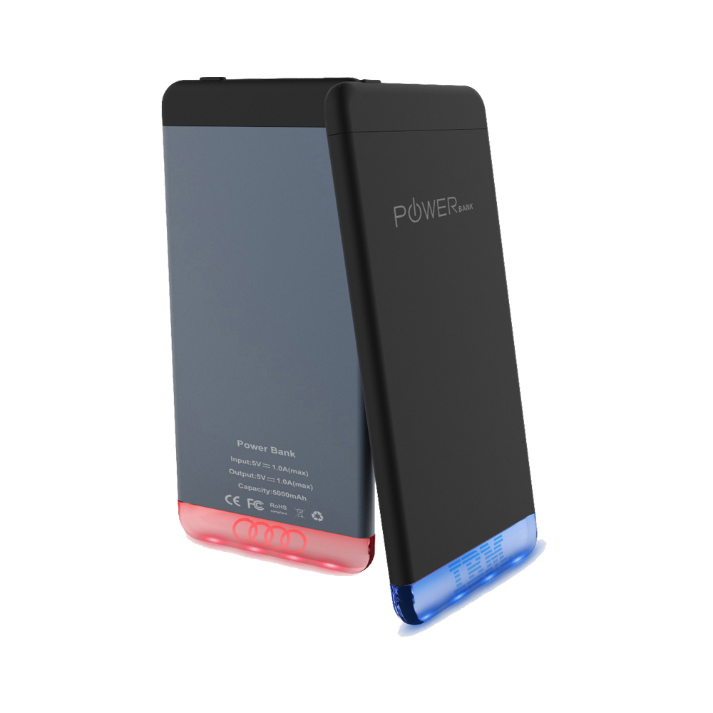 Slim <strong>Portable</strong> With Logo Promotional Power Bank 5000mAh with Single Micro USB and black color gift box and three charging cables