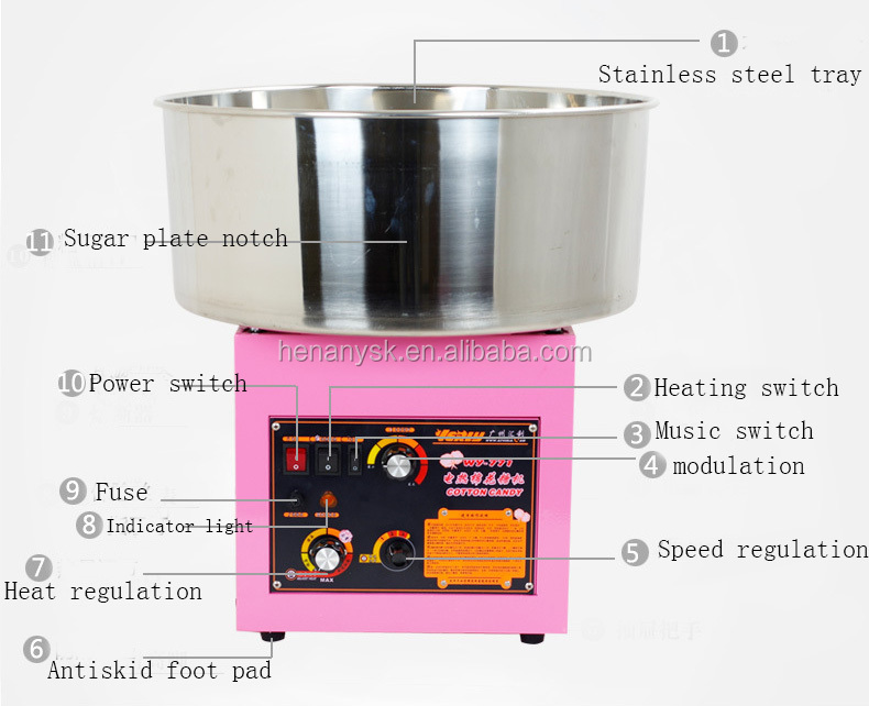 Electric Gas Cotton Candy Maker Machine Commercial Cotton Candy Machine With Small Battery Snack Maker