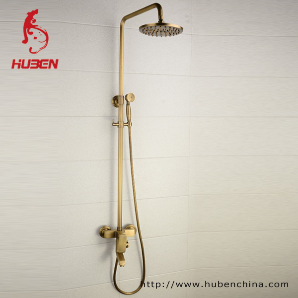 Vintage style Antique Brass Finish Inspired Tub shower set