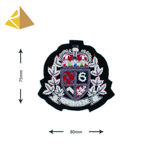 Excellent Quality Customized Clothing Hand Embroidery Bullion Wire Fashion 3D Silver Badge