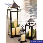 LDJ780 popular selling set black metal lantern candle holders with glass windows