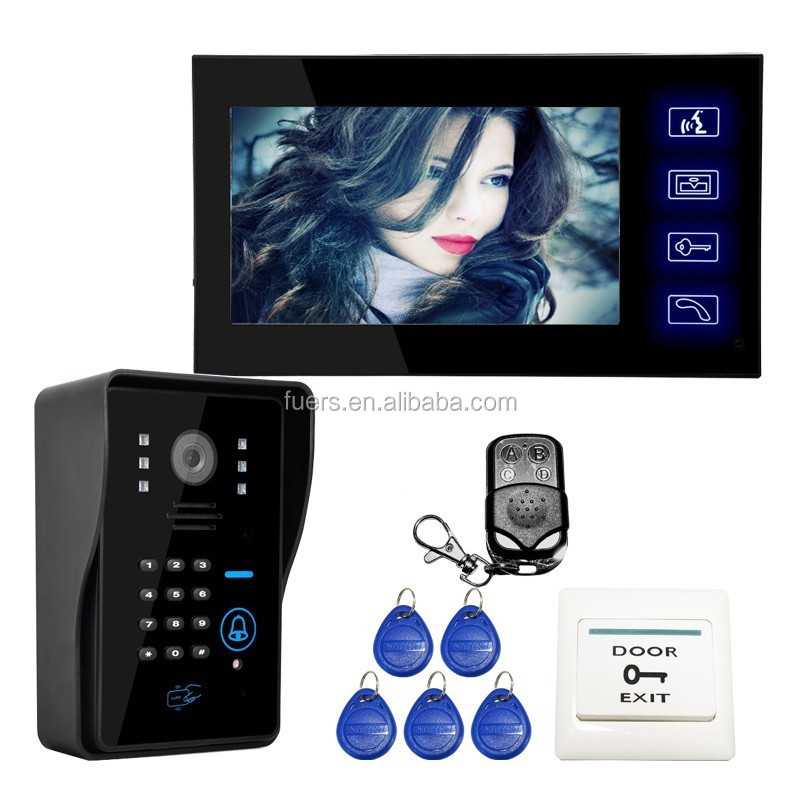 "Wholesale Wired Touch Key 7"" Video Door Phone Intercom System 1 RFID Keypad Code Number Doorbell Camera 1 Monitor"