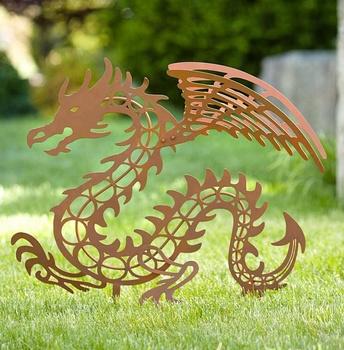 Metal Animal Stainless Steel Dragon Garden Sculpture For Sale