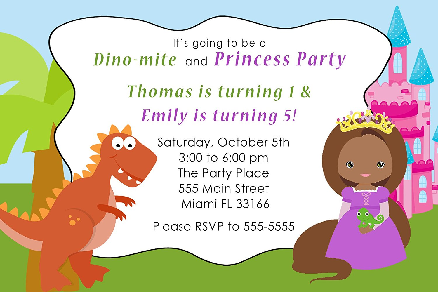 Buy 30 Invitations Dinosaur African American Princess Girl Boy ...