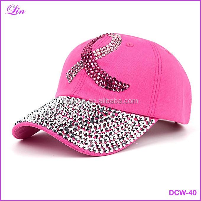 60942ed70aa New Fashion Health Care For Women Breast Denim Cotton Rhinestone Hat  Baseball Cap With Pink Ribbon