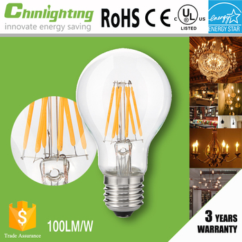 Standard high lumen energy star led filament light bulb with 3 year warranty