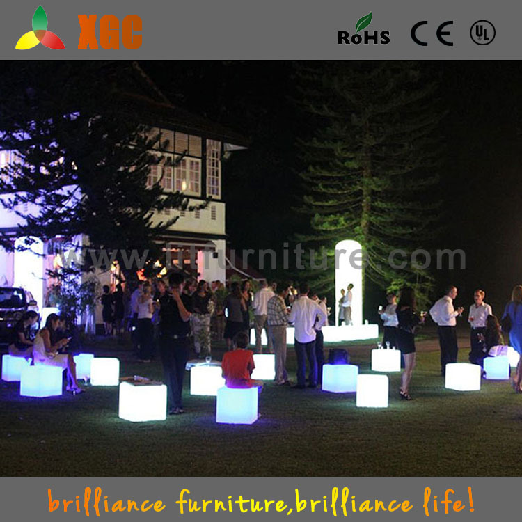plastic garden decor LED party cube furniture flashing led cube chai medical bedside tables