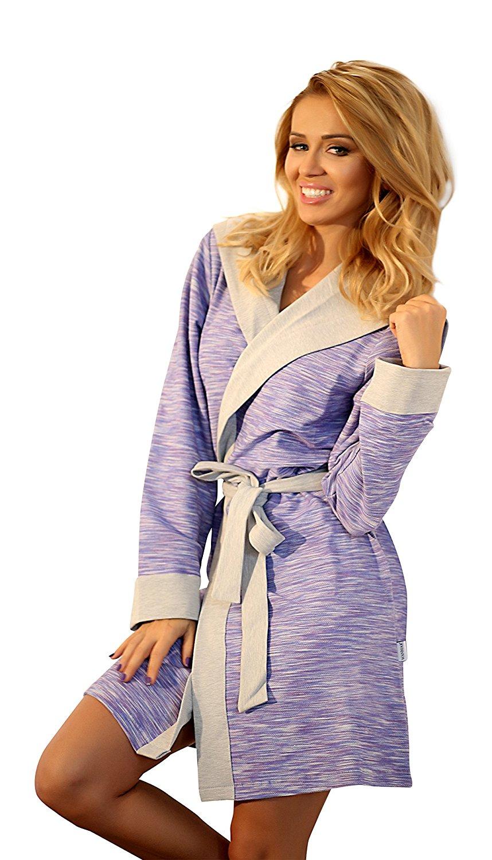 4fc419c39e Get Quotations · Wanmar Womens Warm Hooded Short Dressing Gown Cotton Soft Bathrobe  Housecoat