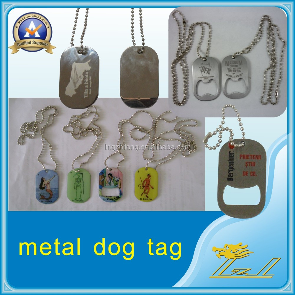 custom military dog tags Metal Name Tag with epoxy Fish Logo Dog Tag with ball chain Pet dog