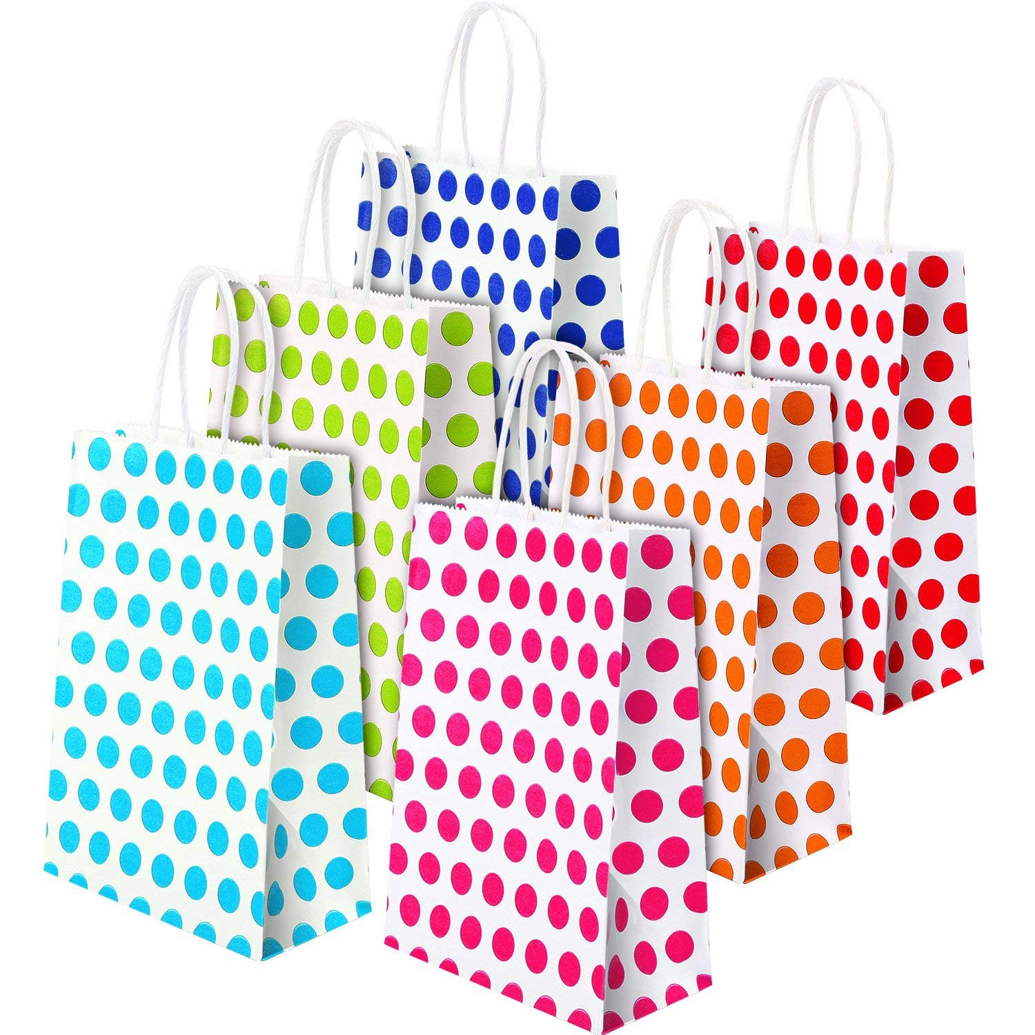 Get Quotations TecUnite 18 Pieces Paper Party Bags With Handle Coloured Dot Gift Bag For Birthday Wedding Parties
