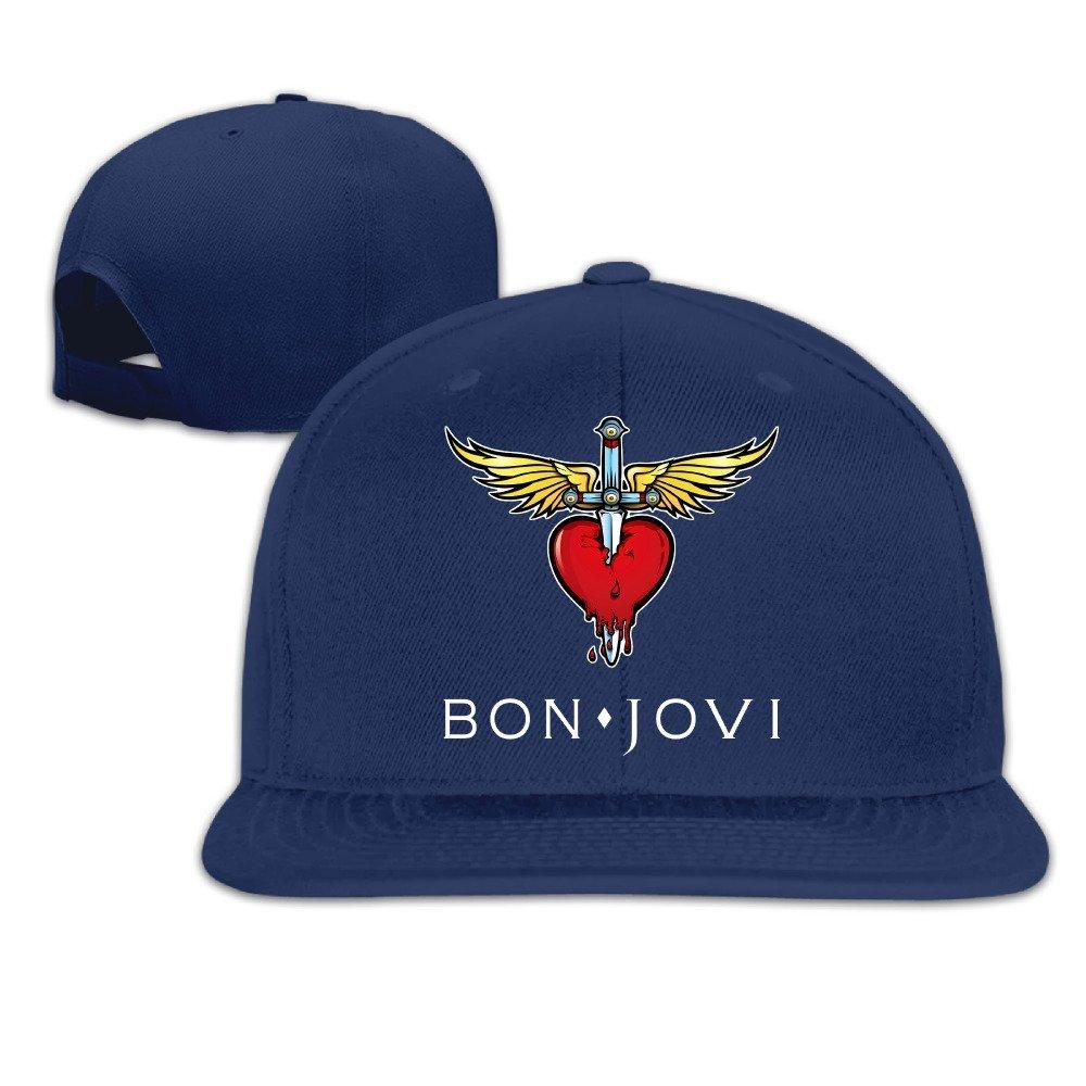 Velcro Closure Cotton Baseball Caps Hat Bon Jovi Classic Logo Embordiery