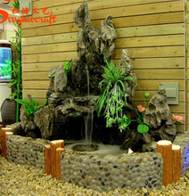 Latest design outdoor fiberglass rock waterfall pool artificial rock waterfall landscaping