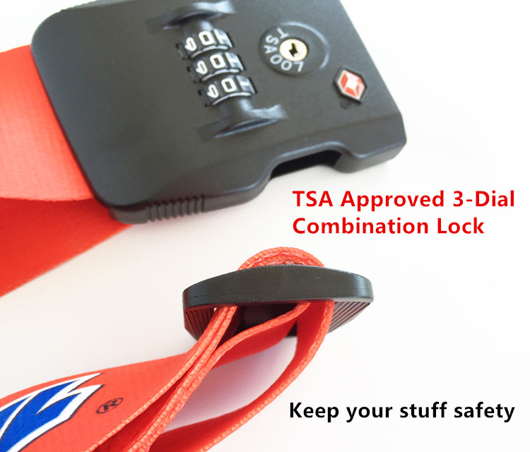 Wholesale TSA  Lock Fabric Sublimation Luggage Strap Belt with Scale