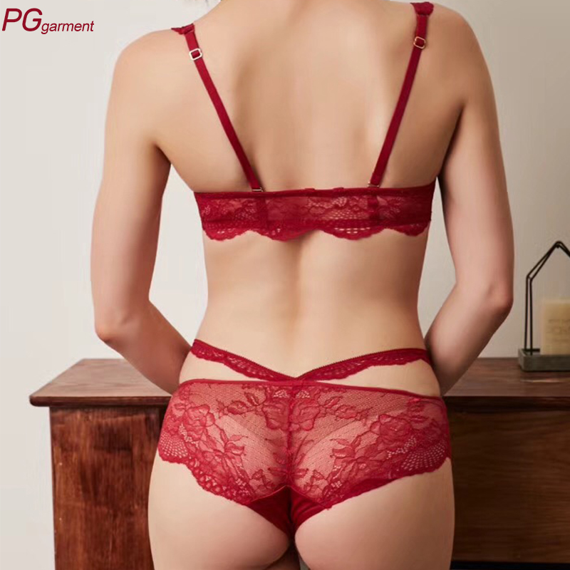 fb33aa3ef072d guangzhou factory supplier female undies embroidered front closure underwear  lace bra sexy fancy bra panty set