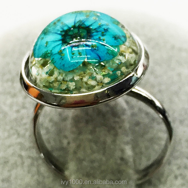 Manufacture handmade alloy charming clear resin natural real pressed dried flower cooper ring with different color