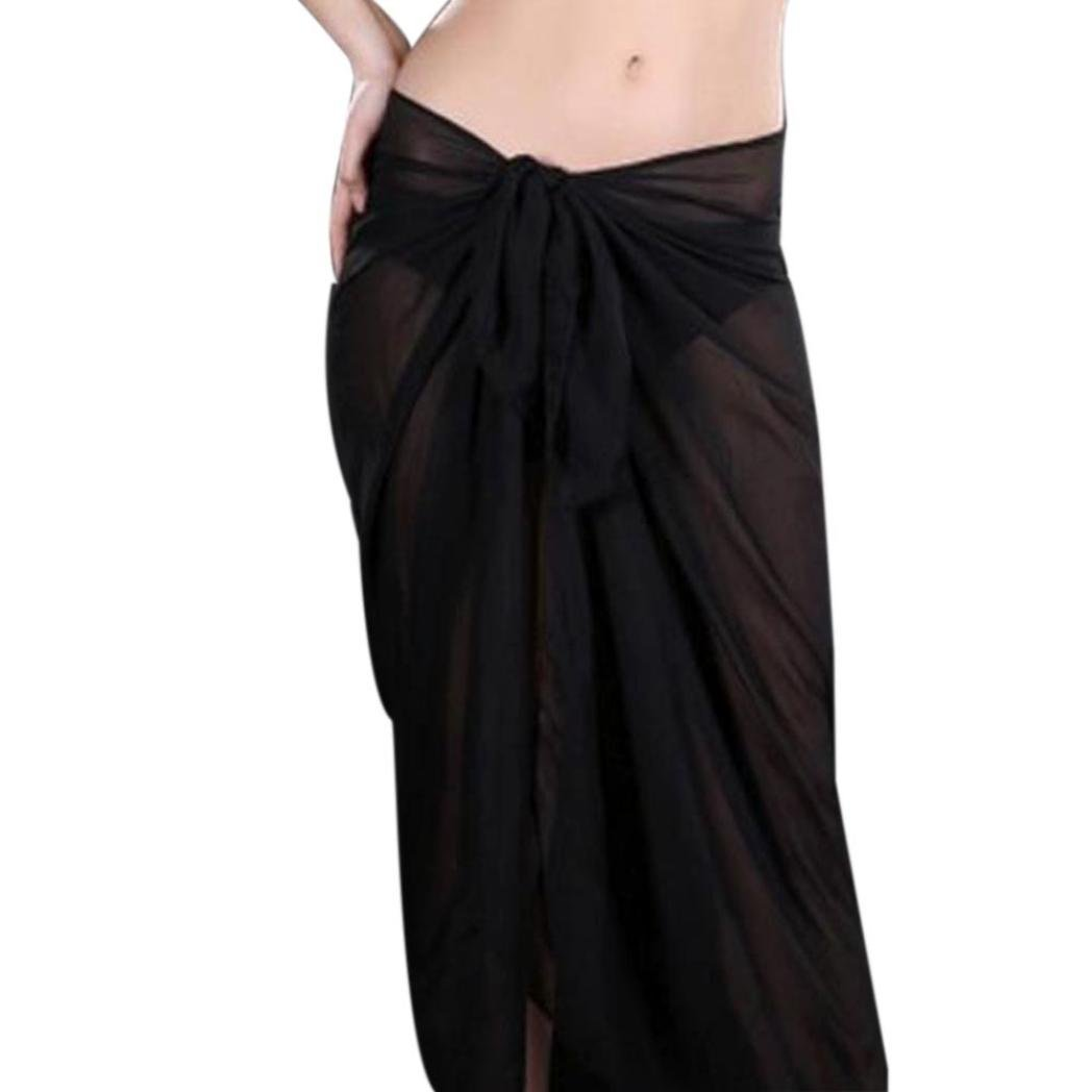 a0a38bbccae792 Get Quotations · Vinjeely Women Beach Cover Up Chiffon Skirt Bikini  Swimwear Coverup Wrap Skirt Swimsuit (Black)