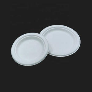 Eco friendly biodegradable sugarcane bagasse tableware sets disposable paper pulp plate 6 inch round disc