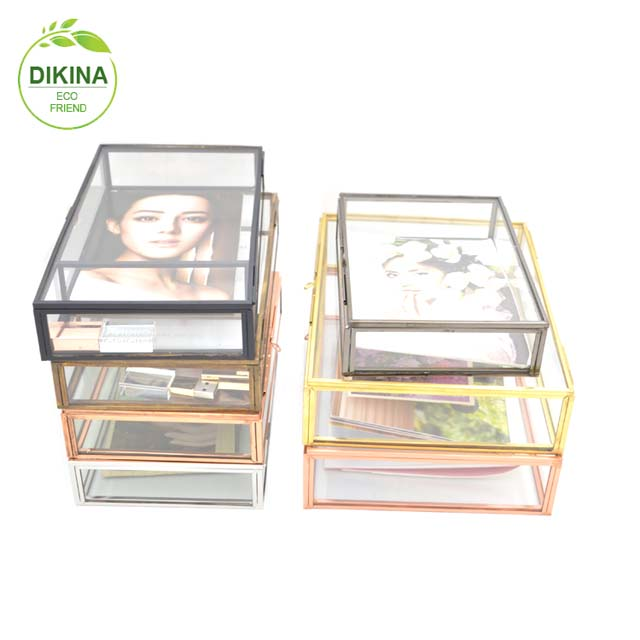 Black & silver *Copper / Rose Gold Contemporary Mirror Glass Jewellery Trinket Storage Box>< wholesale 4*6 5x7 glass photo
