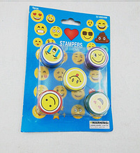 cute expression plastic mini kid toy 5pc self-ink round kids stampers