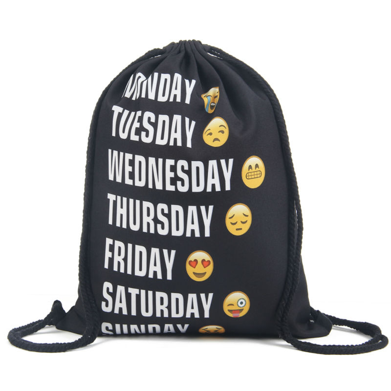 89e38993af4140 2016 nuove Donne di modo Emoji Zaino stampa 3D donne mochila drawstring bag  mens zaini softback