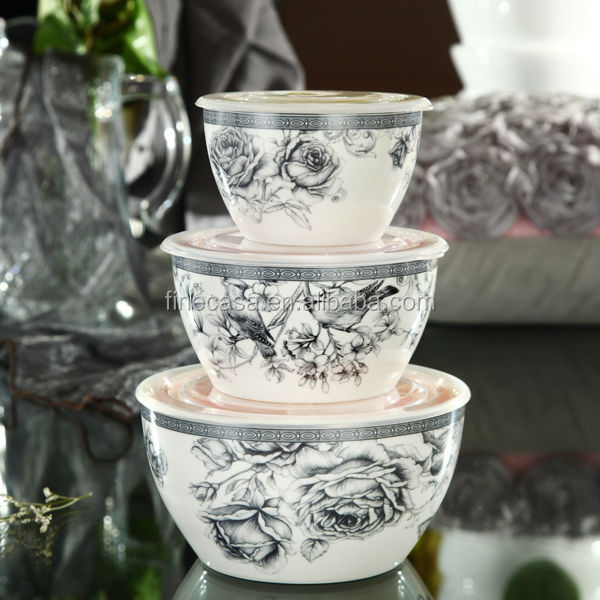 Famous Elegant Style New Bone China Ceramic Serving Bowls With Lids Of  MO09