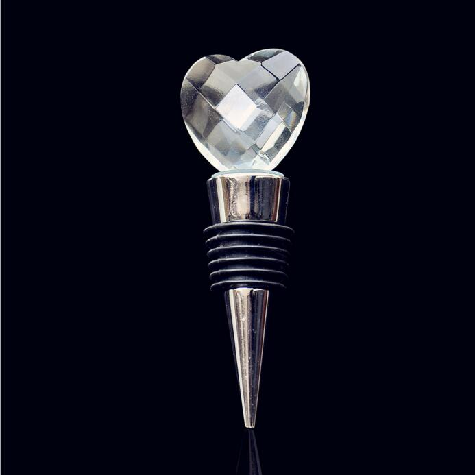 Cheap Crystal Heart Sealed Vacuum <strong>Wine</strong> Bottle Stopper Champagne Bottle Stopper