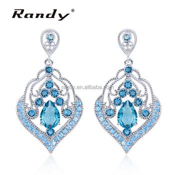aa369547b Luxury Big Earrings Light Blue Diamond Jewelry Drop Earrings For Women