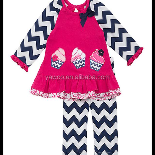 Yawoo 2016 Baby Outfit Chevron Pants Birthday Party Clothing Cupcake Design Ningbo 2 Pcs Children