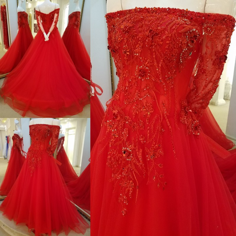 LS64480 Red off shoulder sexy mother of the bride picture evening dresses mother of the groom bride