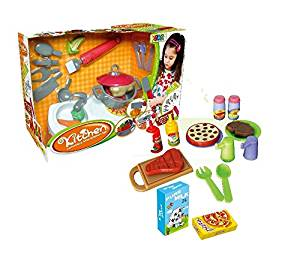 Quality Kitchen set from Little Treasures – Complete with luxurious mini Kitchen station and Multi-tool with Brush, Can Opener, Cleaver, Knife, Fork, and Ladle –play set for children 3+