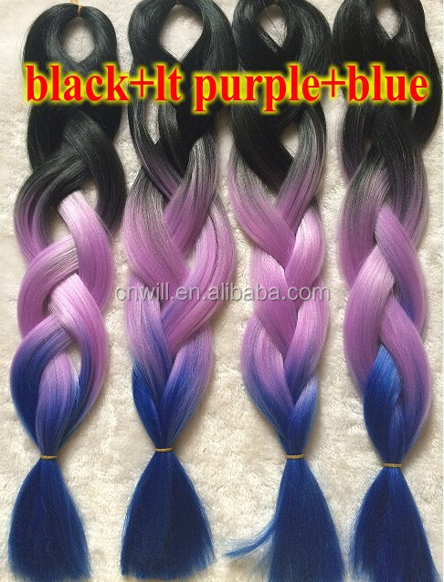 Two Tone Ombre Coloured Braiding Hair Jumbo Braid Black Purple Light