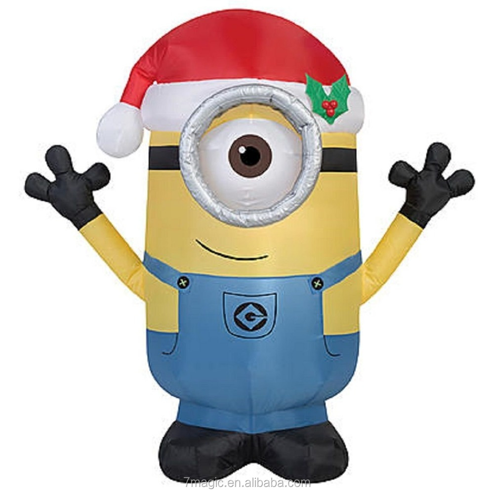 Inflateables Holiday Air Blown Universal Minion Carl In Santa Hat Decor