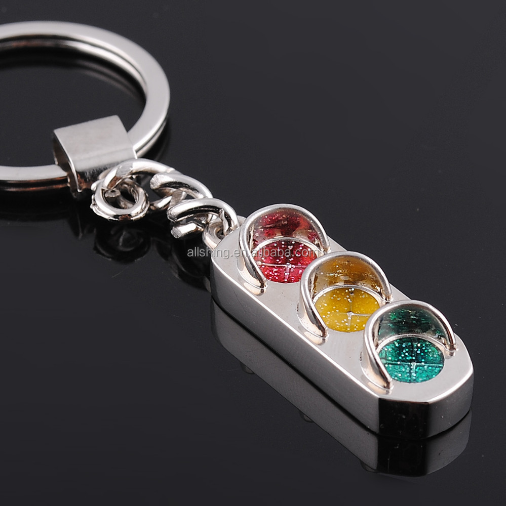 Wholesale metal traffic light keychains, traffic signals metal keychains and key rings