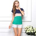 2016 New Fashion Women Summer T shirt Short Sleeve Splice 3 Colors Cute shirts Loose Plus