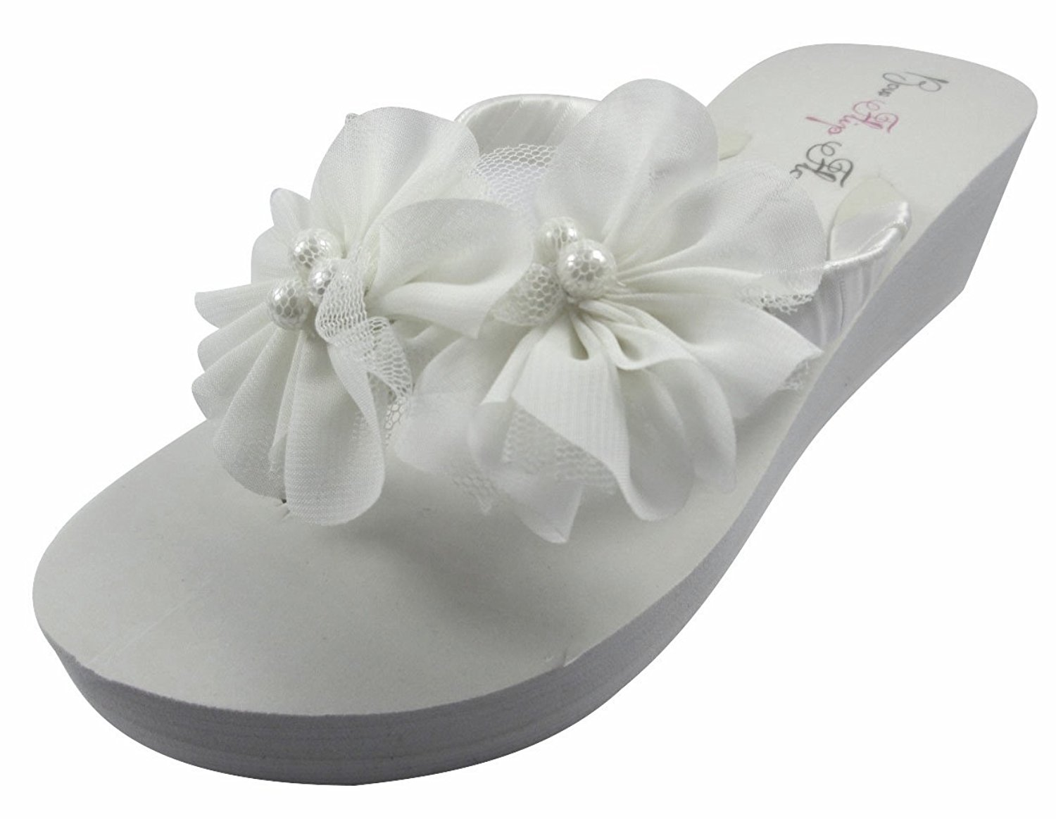 9ee58cfb5cbca Get Quotations · Bow Flip Flops Ivory Wedge Flip Flops Wedding Bridal White  Wedge Bride Platform Heel Flower Satin