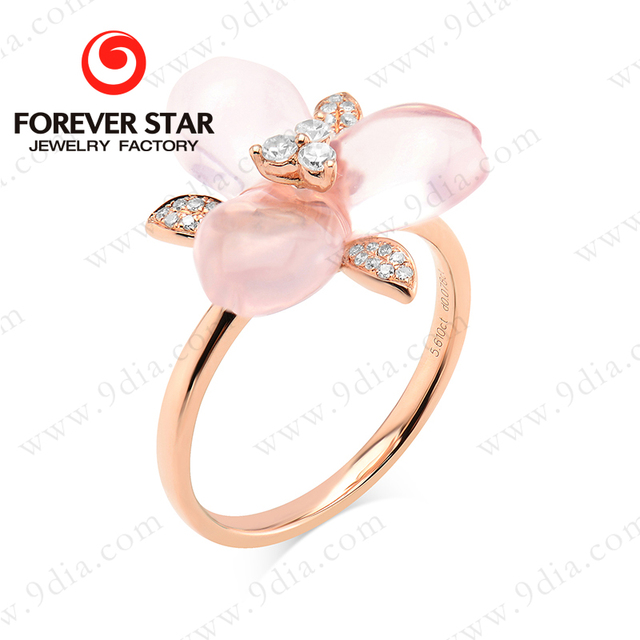 Aliexpress China small size diamond 18k gold wedding ring with rose quartz flower shape gold ring design