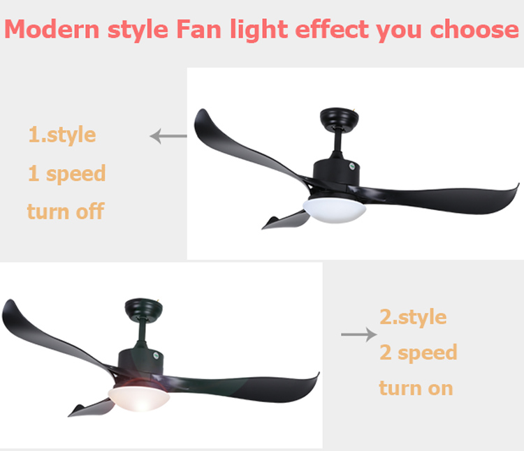 European designer 52 ceiling fan with light and remote control