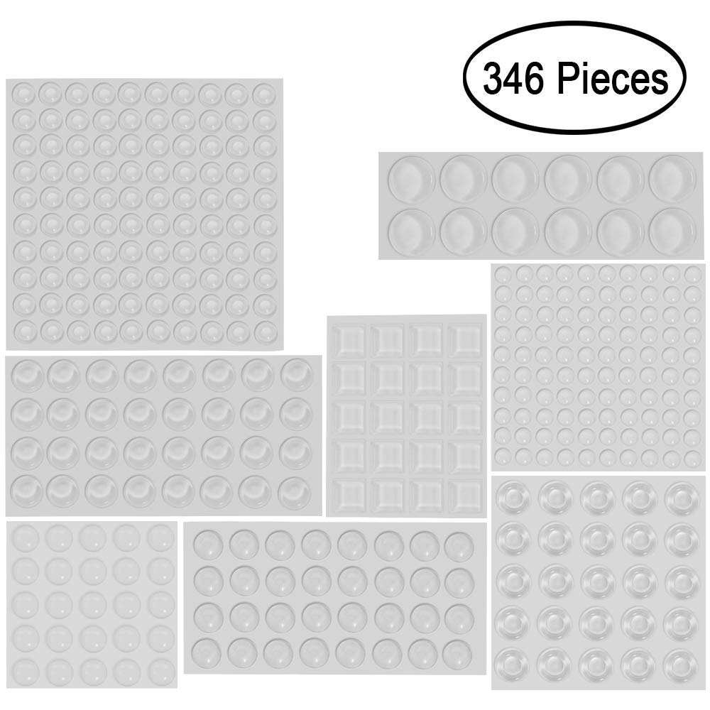 346 Pcs Clear Rubber Feet Self-Adhesive Transparent Noise Dampening Rubber Bumper Pads 8 Shapes for Cutting Boards Furniture Picture Frames
