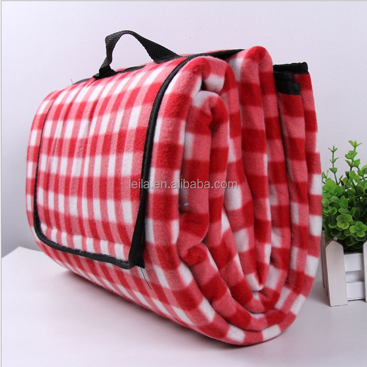 outdoor products 100% polyester promotional plaid printed polar fleece waterproof picnic blanket