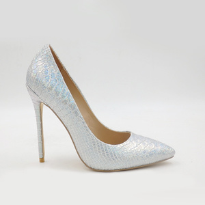 2018 elegant sexy silver pointed toe snakeskin sky high heel lady dress bridal shoes dress shoes women