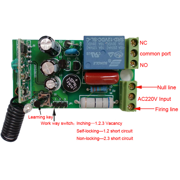 Wireless Remote Control Switch AC 220V 1 CH Relay Receiver & RF Transmitter