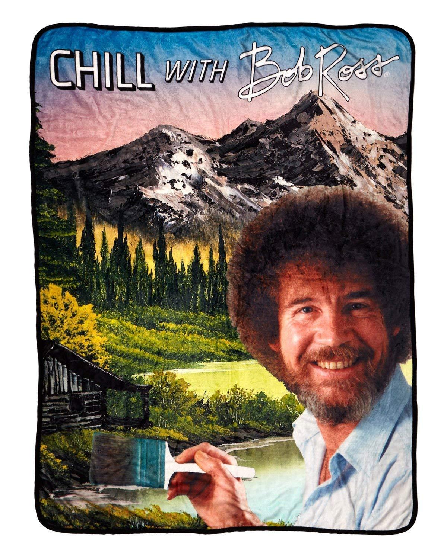 "BobRoss Blanket - Chill with Bob Ross 45"" X 60"" Flannel Fleece Throw"