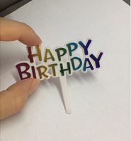 Bakest Plastic colorful Happy Birthday Cake Inserted Card for decorating cake