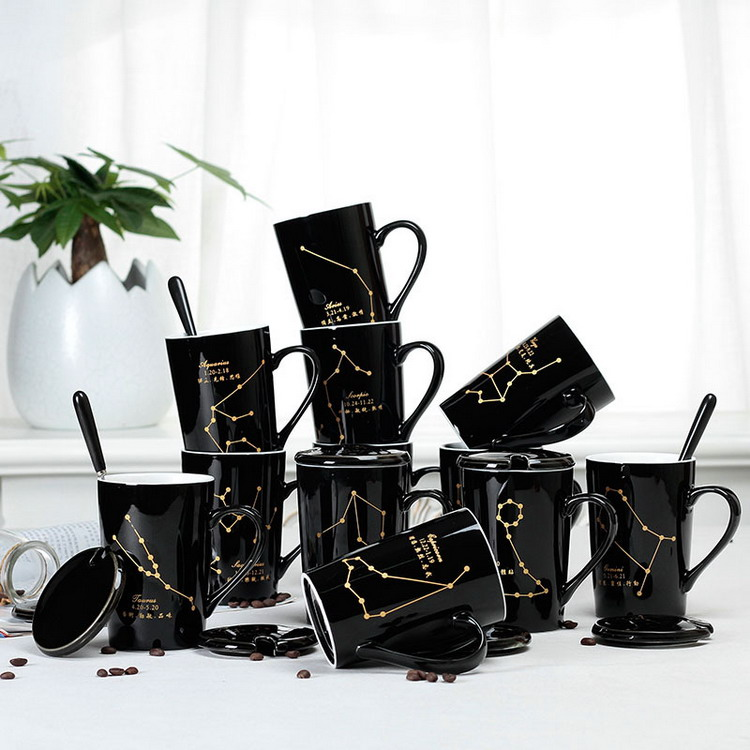 creative 12 constellation zodiac black and white 420ml big capacity ceramic <strong>cup</strong> with lid and spoon