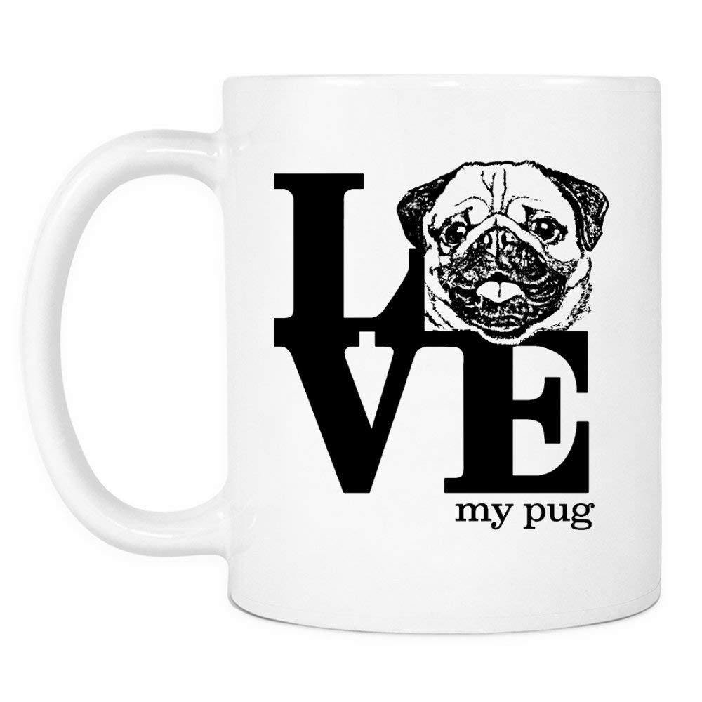 Love Pug Gifts Coffee Mug - Novelty Birthday Gift for Dog Lovers for Men or Women - Christmas Present for Best Pug Mom or Dad Ever from Son or Daughter - 11 oz Ceramic Cup Pug Stuff for Pug Friend