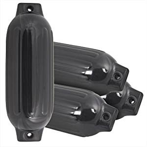 "GHP Black 4 Ribbed Marine 8.5"" X 27"" Boat Fender Vinyl Bumper Dock Shield"