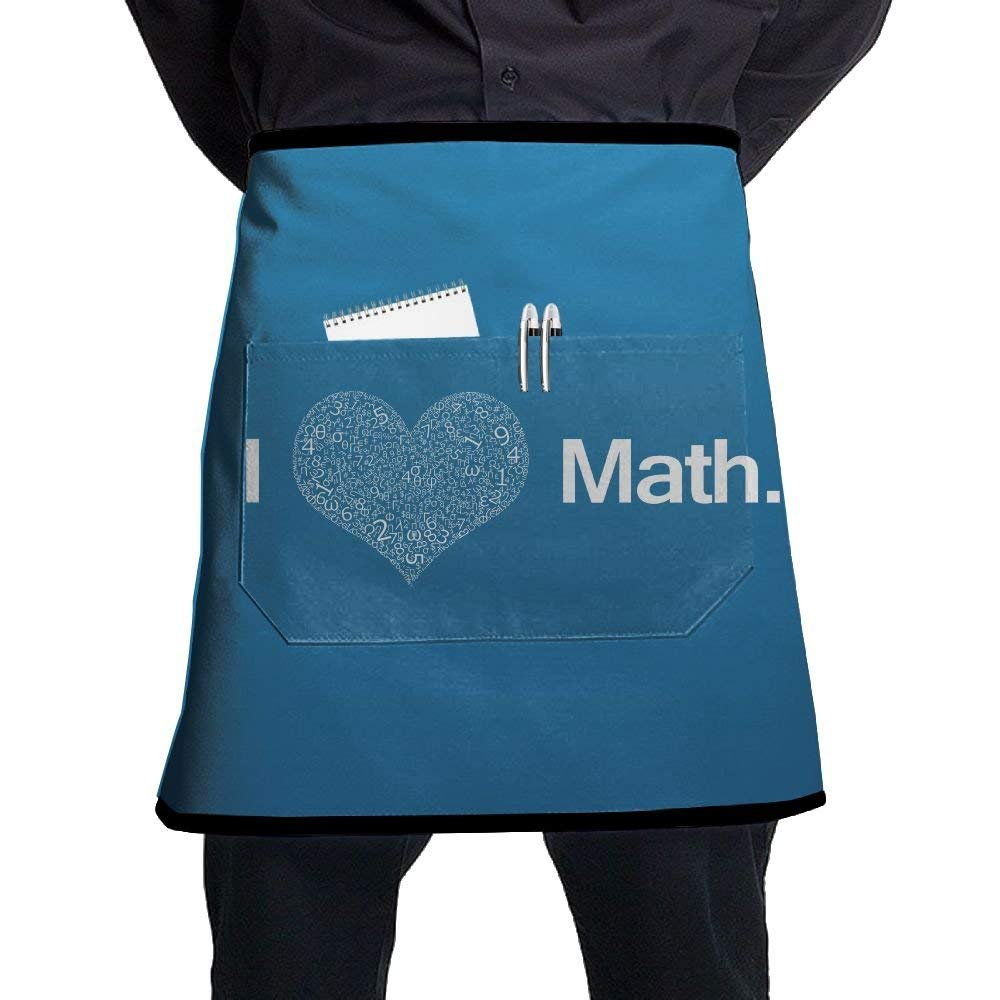 SG ULTIMATE INNO I Love Math Waist Tie Half Bistro Apron With 2 Pockets For Waitress, Waiter, Chef, Baker, Servers, Waist Tie Half Waist Apron For Men & Women